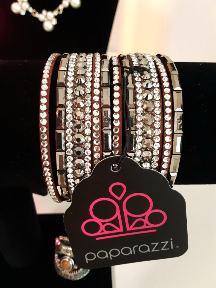 Brown Suede Bracelet with White and Smoky Rhinestones $5.00 from Jfay's Paparazzi Showroom.