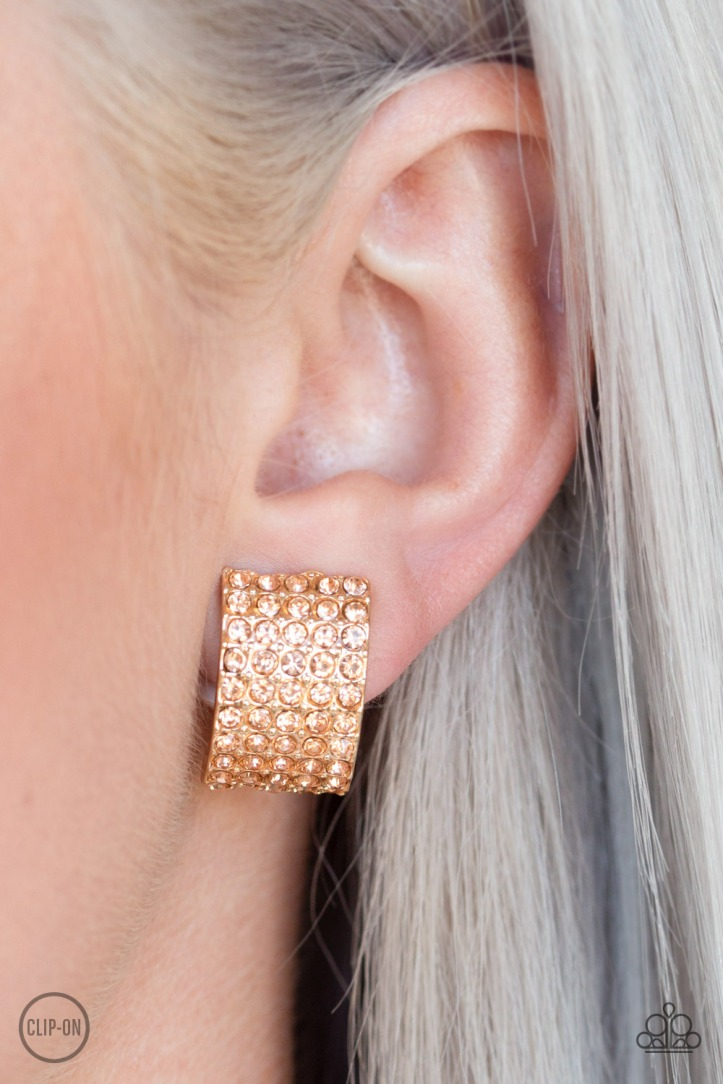 Hollywood Hotshot Clip-On Gold Earrings by Paparazzi $5 my-bling.com