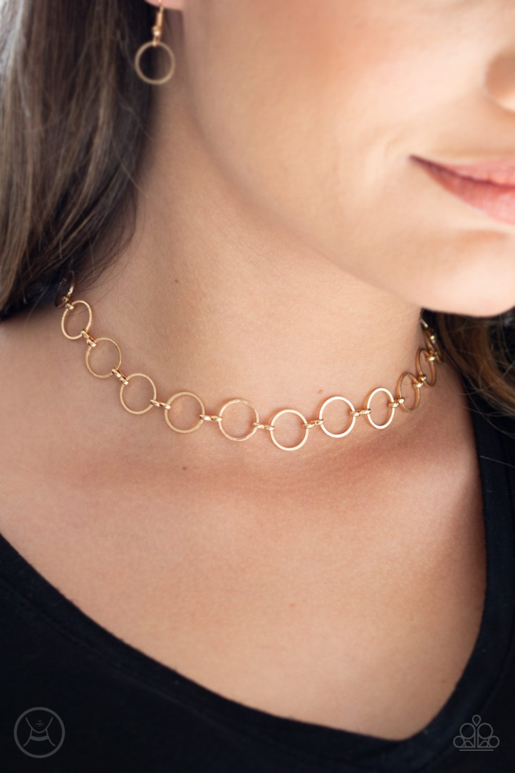 Gold Choker Necklace by Paparazzi $5 my-bling.com