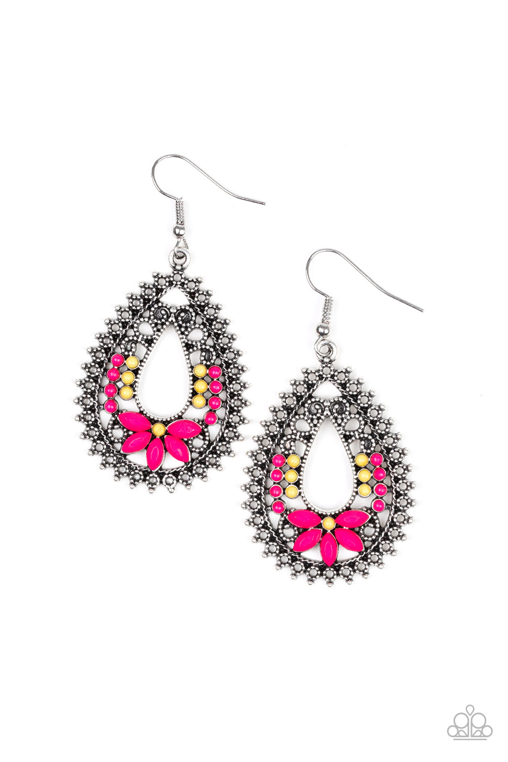 Gorgeous Hot Pink and Yellow beaded earrings on Antiqued Silver. $5 a pair www.my-bling.com