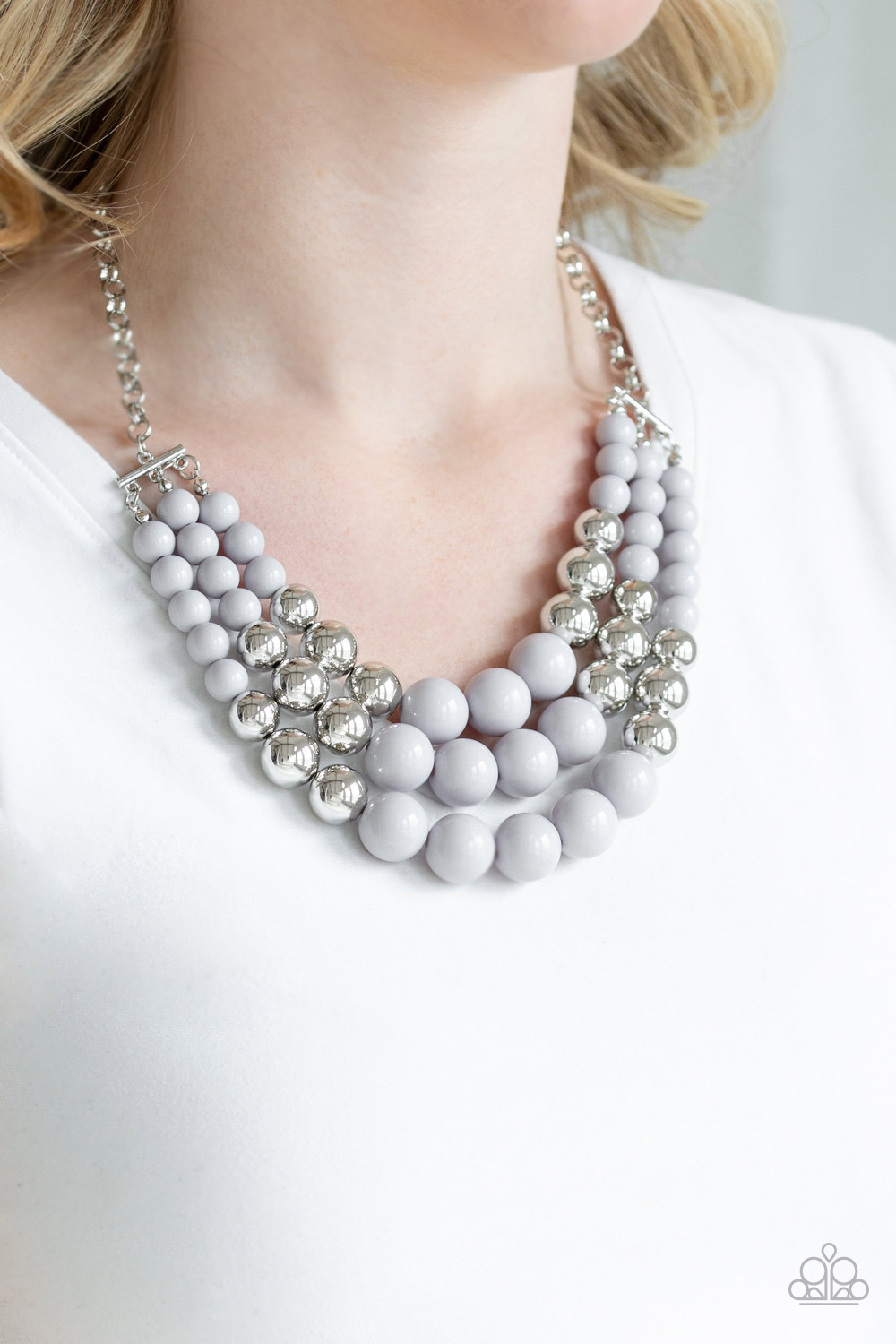 Silver pearl necklace by Paparazzi $5 www.my-bling.com