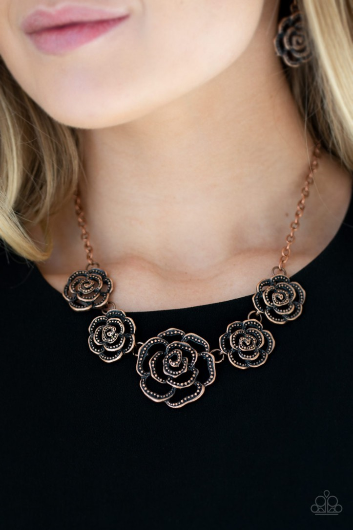 Floral Studded Copper Necklace and Earrings Set by Paparazzi $5.00 the set. www.my-bling.com