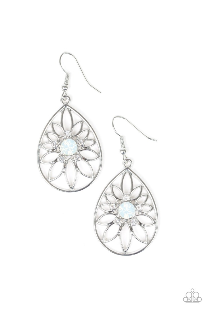 Gorgeous Silver floral pattern earrings with opaque and glassy rhinestones by Paparazzi $5 my-bling.com