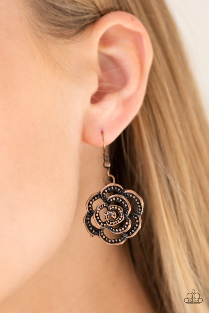 Copper Floral Earrrings comes with Necklace. $5.00 www.my-bling.com