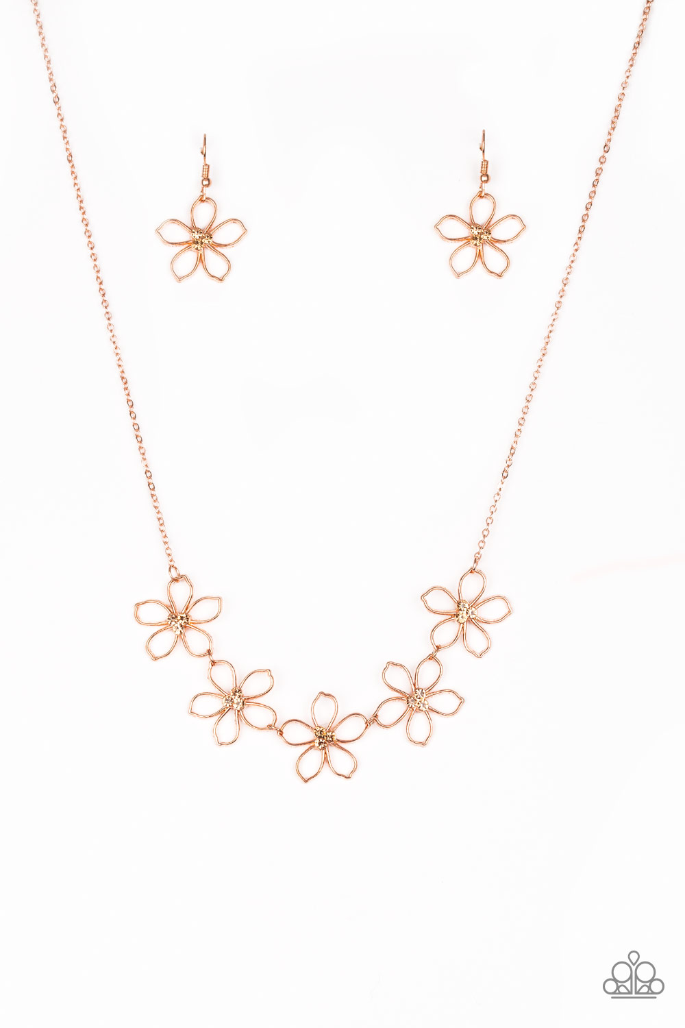 Copper Floral Necklace and Earring Set $5 my-bling.com