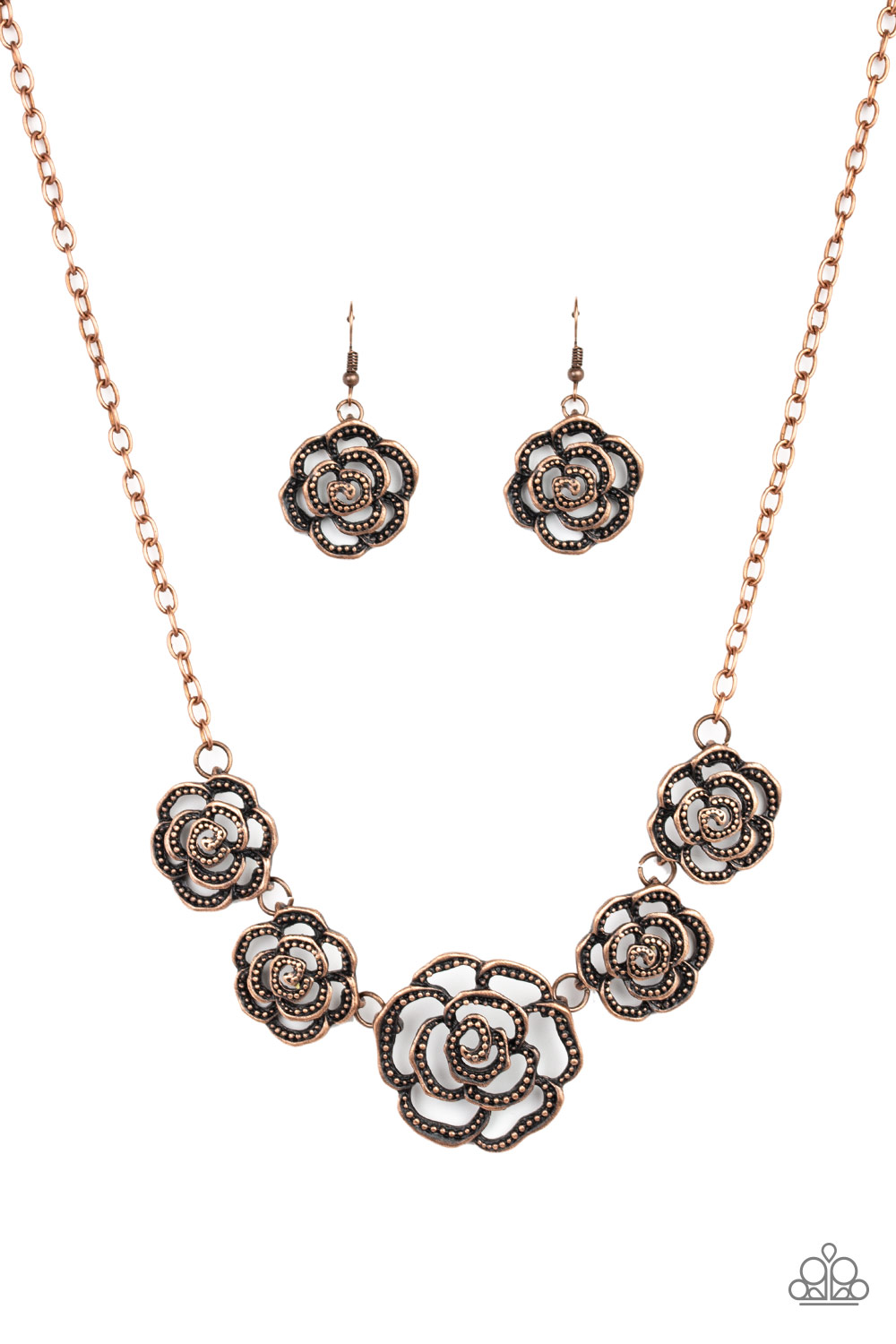 Copper Floral Necklace and Earrings Set by Paparazzi $5.00 the set. www.my-bling.com