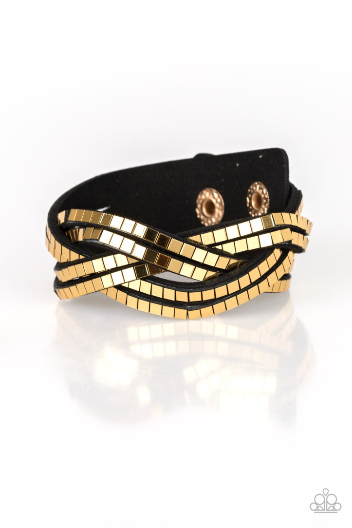 Looking for Trouble Gold and Black Suede Bracelet $5 my-bling.com
