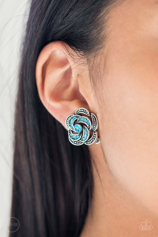 Garden Glitter Blue Rhinestone Clip-On Earrings $5 www.my-bling.com