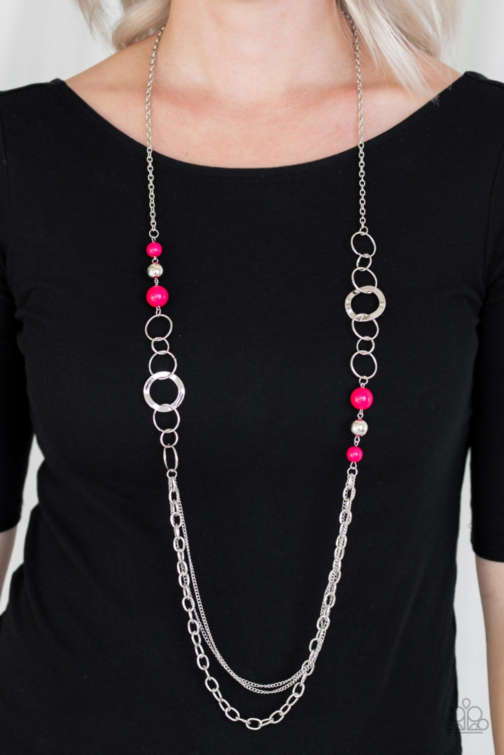 Hot Pink and Silver long Necklace by Paparazzi $5 my-bling.com