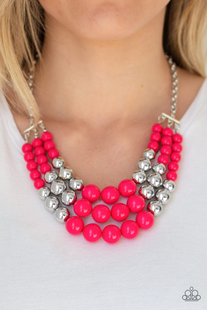 Dream Big Hot Pink and Silver Necklace $5 my-bling.com