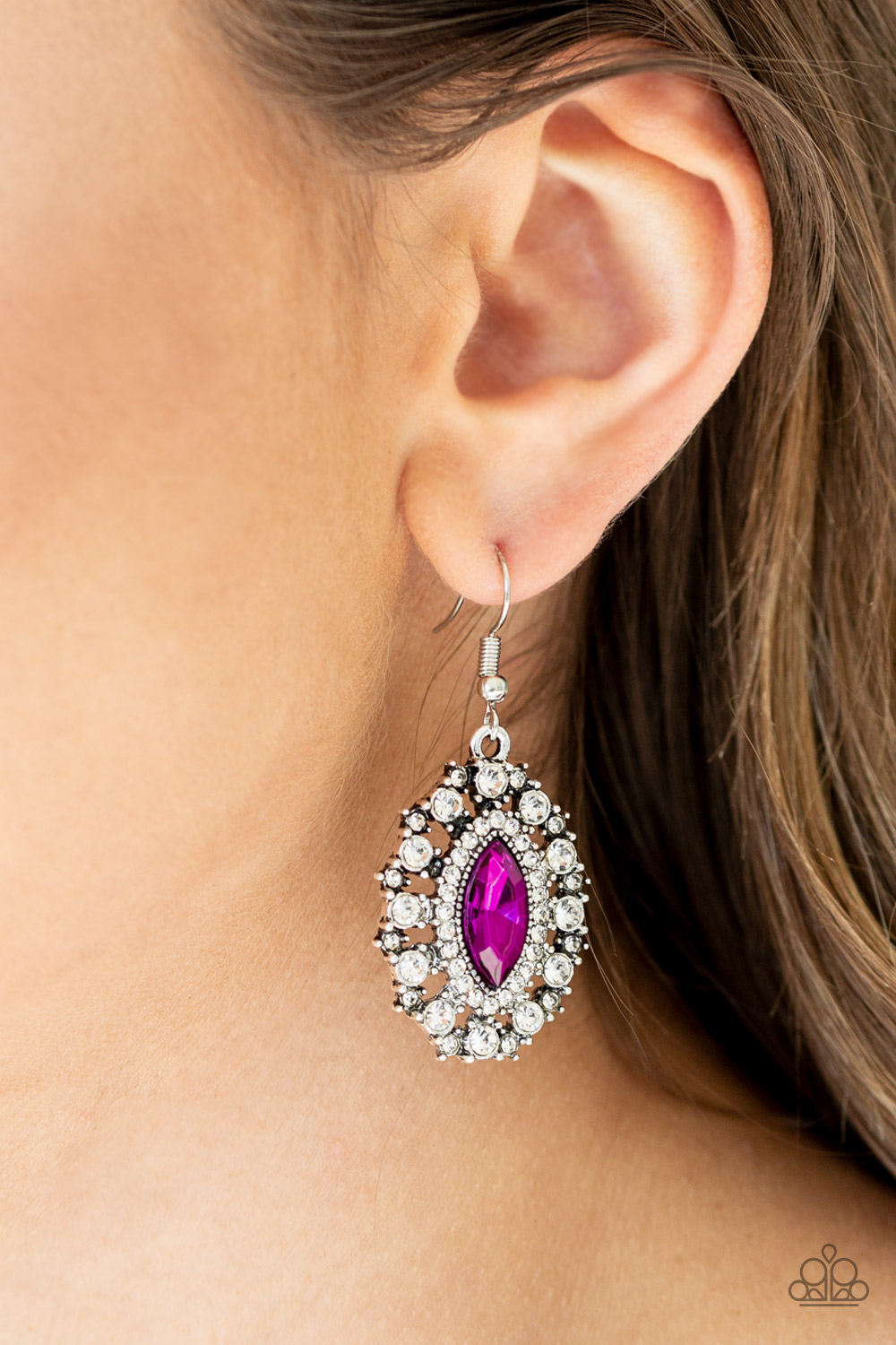 Stunning Pink Earrings with Rhinestones by Paparazzi $5 my-bling.com