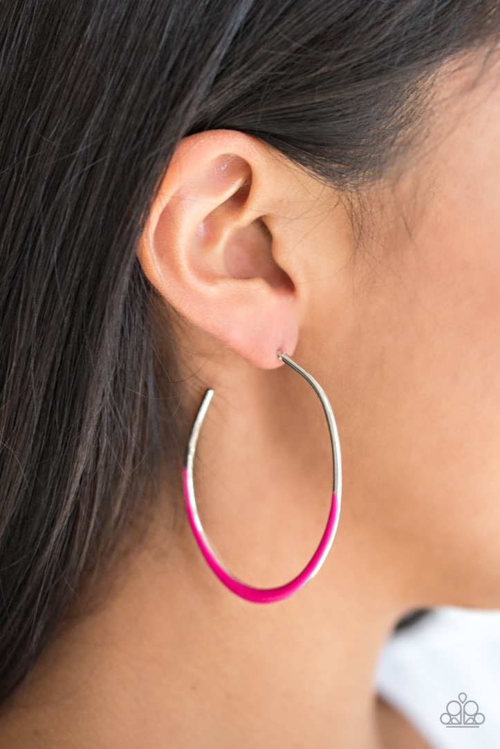 Silver Hoops Earrings with a Shiny Pink Finish $5 my-bling.com