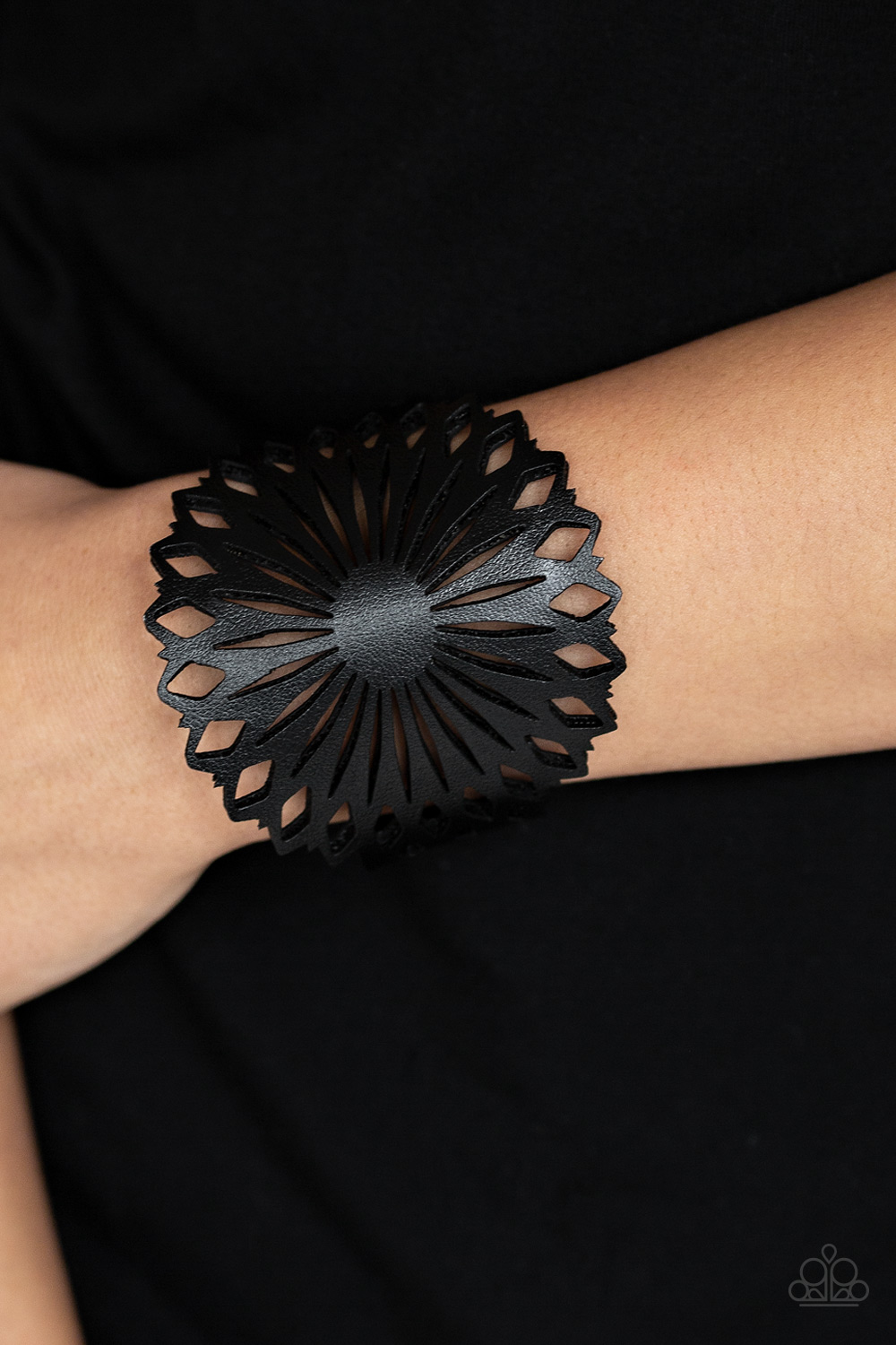 Black Leather Floral Bracelet from Paparazzi $5 www.my-bling.com