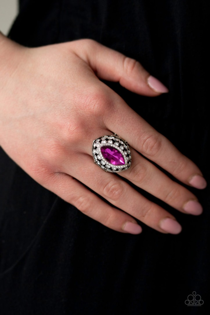 Hot Pink Ring with Rhinestones $5 my-bling.com