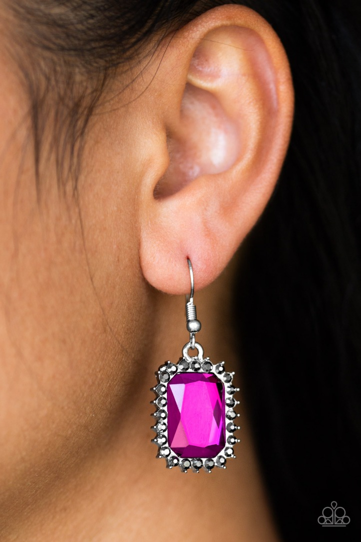 Hot Pink Gemstone Earrings from Paparazzi $5 my-bling.com
