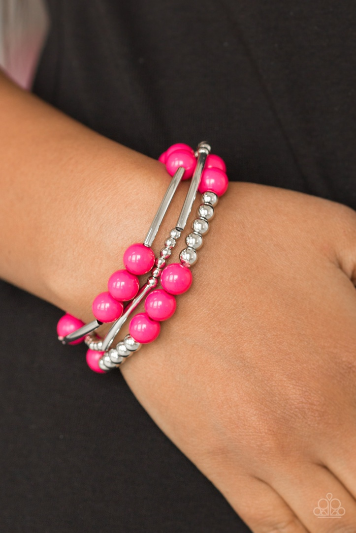 Hot Pink and Silver Beaded Bracelet $5 my-bling.com